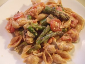 Asparagus over Whole Wheat Pasta