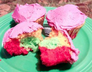 Rainbow Cupcakes Made With Jello