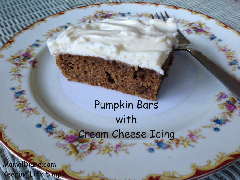 Pumpkin Bars with Cream Cheese Icing 1