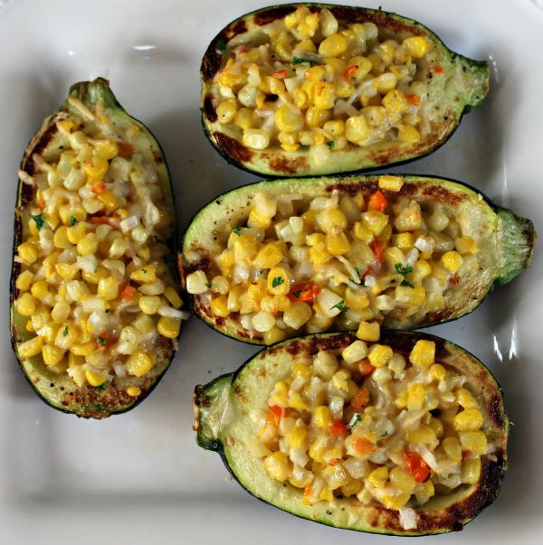 Corn and Herb Stuffed Zucchini f