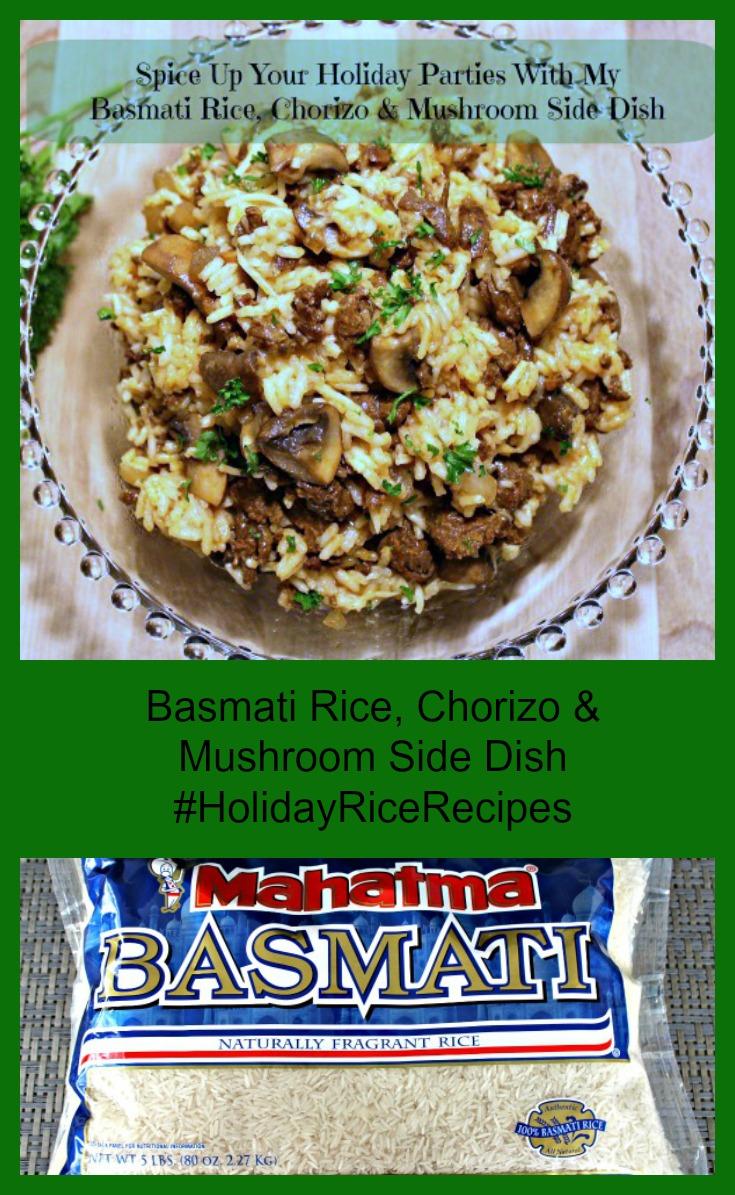 Basmati Rice, Chorizo & Mushroom Side Dish collage