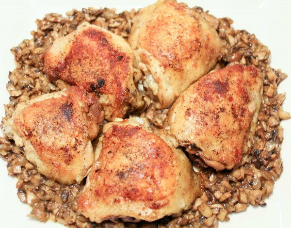 Crispy Chicken Thighs with a Mushroom Garlic Sauce 9