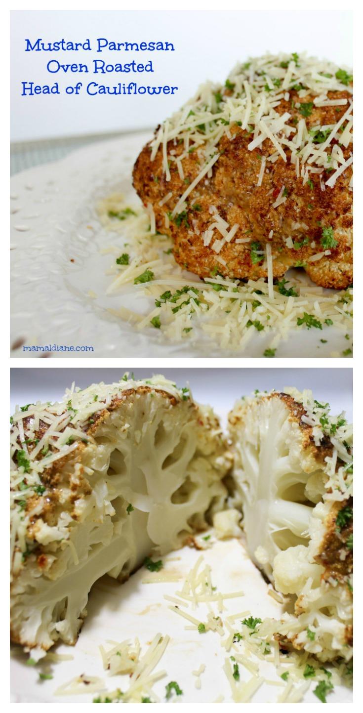 Mustard Parmesan Oven Roasted Head of Cauliflower Collage