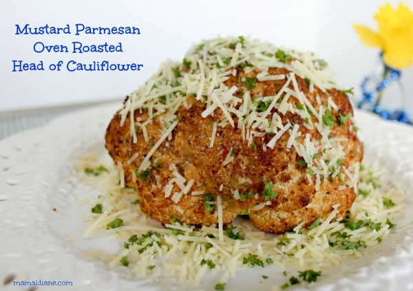 Mustard Parmesan Oven Roasted Head of Cauliflower ee