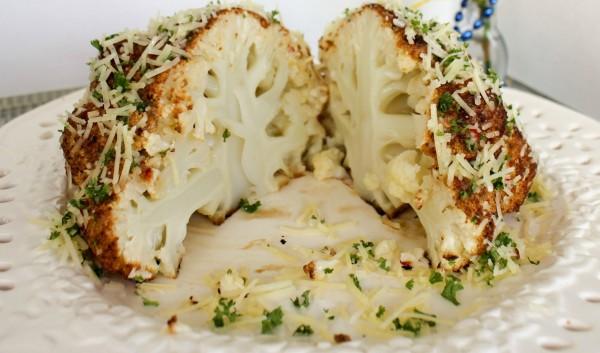 Mustard Parmesan Oven Roasted Head of Cauliflower i