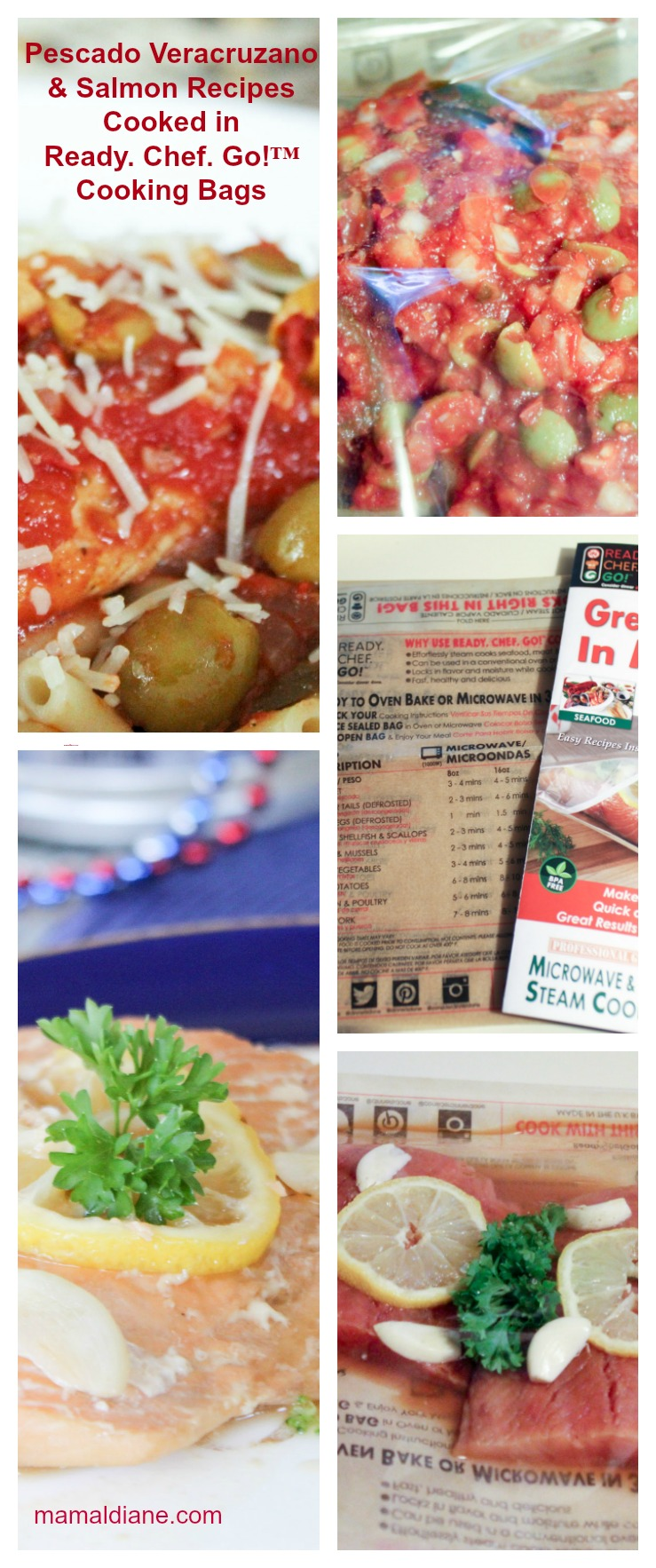 Pescado Veracruzano & Salmon Recipes Cooked in Ready. Chef. Go!™ Cooking Bags Collage