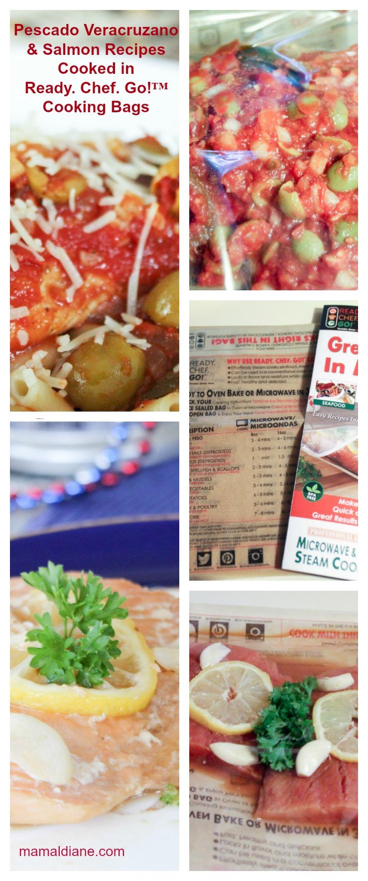 Pescado Veracruzano & Salmon Recipes Cooked in Ready. Chef. Go!™ Cooking Bags Collage