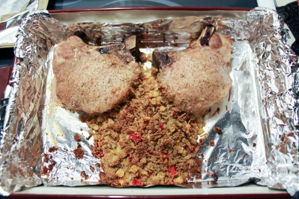 Pork Chops Stuffed with Corn Salsa Stuffing 6