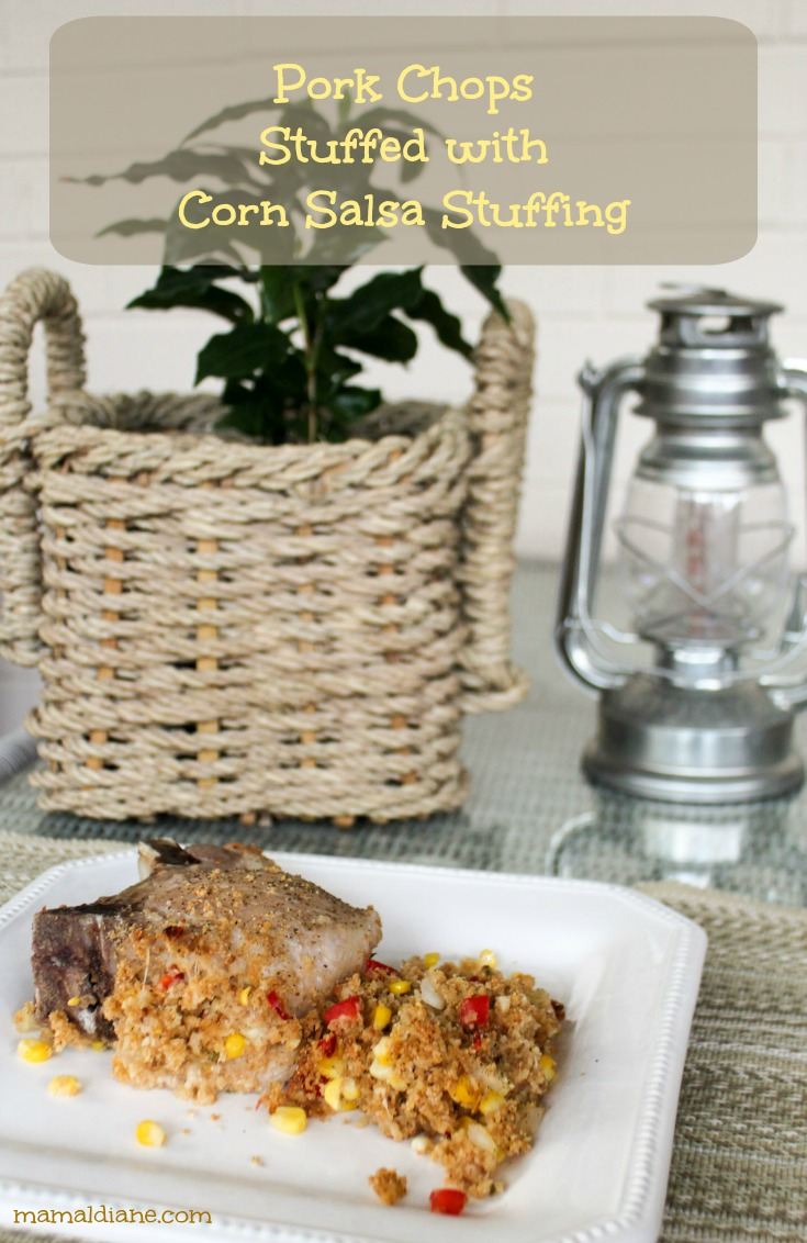 Pork Chops Stuffed with Corn Salsa Stuffing Pin