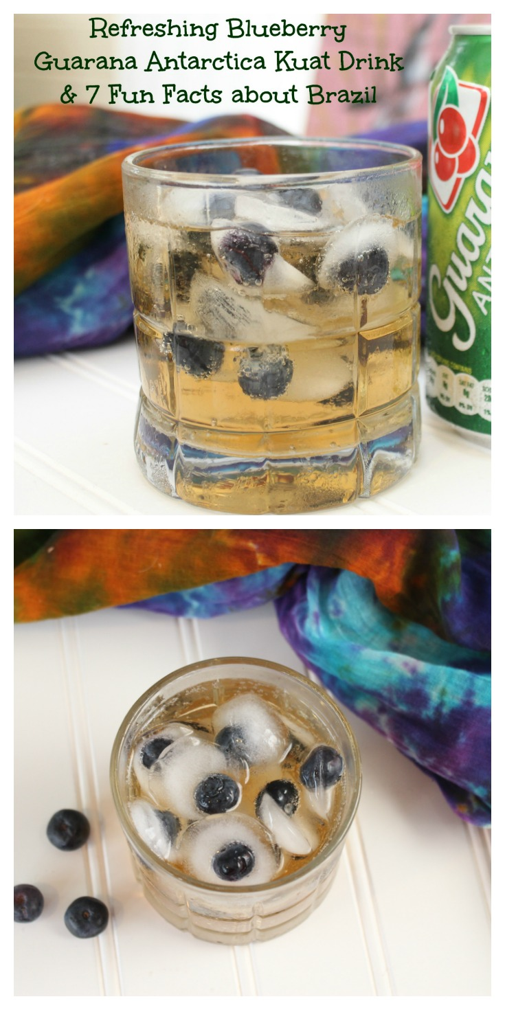 Refreshing Blueberry Guarana Antarctica Kuat Drink & 7 Fun Facts about Brazil Collage