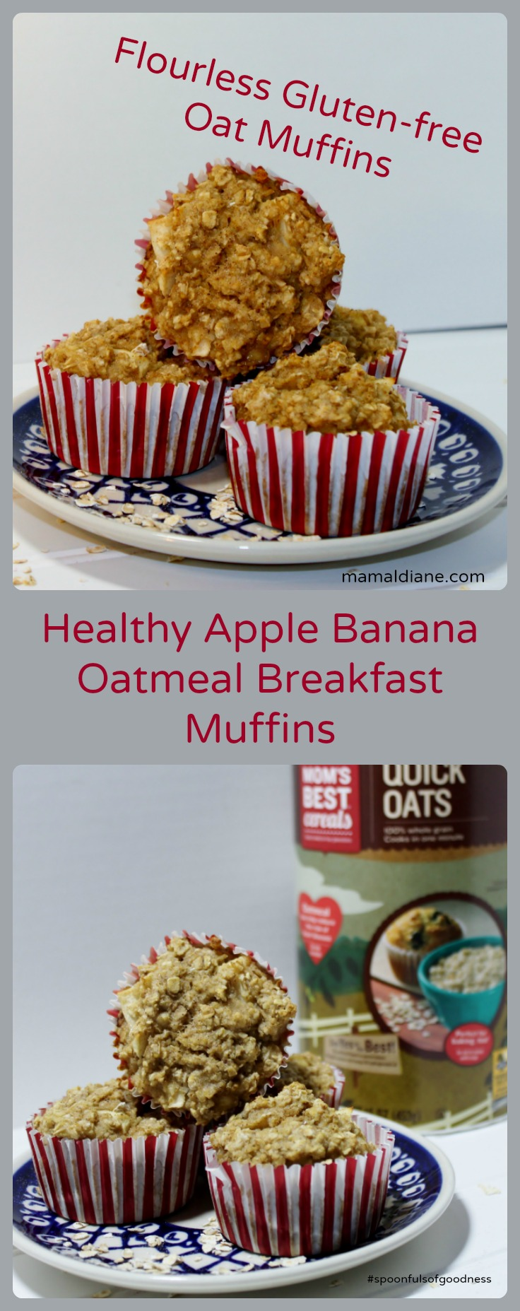 Healthy Apple Banana Oatmeal Breakfast Muffin Pin