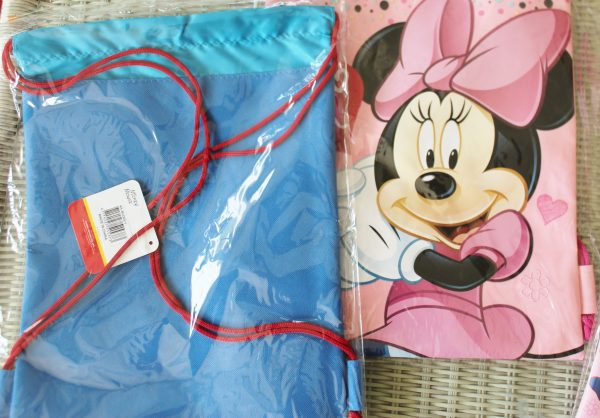 Back and front of Mickey and Minnie Mouse backpacks