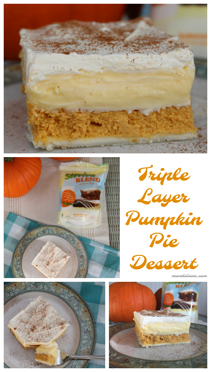 A picture collage of Triple Layer Pumpkin Pie Dessert
