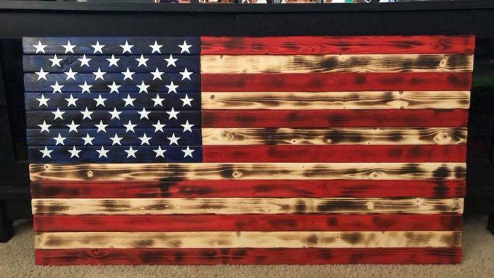 wooden american flag handmade