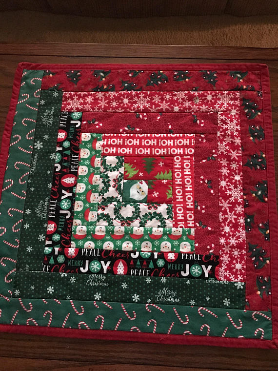 Christmas candle mat quilted
