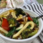 Roasted Vegetable Udon Noodle Soup in a bowl
